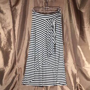 High Low Striped Skirt with Elastic Waistband